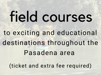 field courses: to exciting and educational destinations throughout the Pasadena area (ticket and extra fee required)